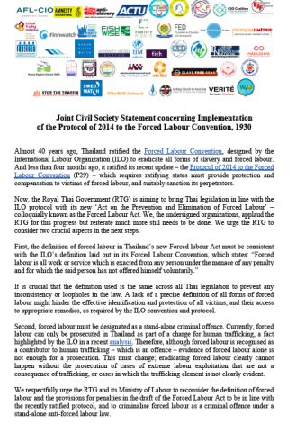 Joint Civil Society Statement concerning Implementation of the Protocol of 2014 to the Forced Labour Convention - English