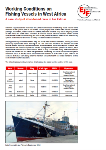 Working Conditions on Fishing Vessels in West Africa: A case study of abandoned crew in Las Palmas