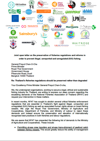 Joint open letter on the preservation of fisheries regulations and reforms in order to prevent illegal, unreported and unregulated fishing