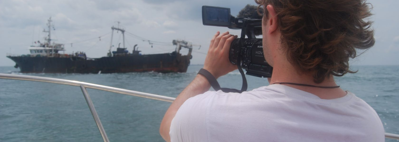 Filming at sea in Sierra Leone