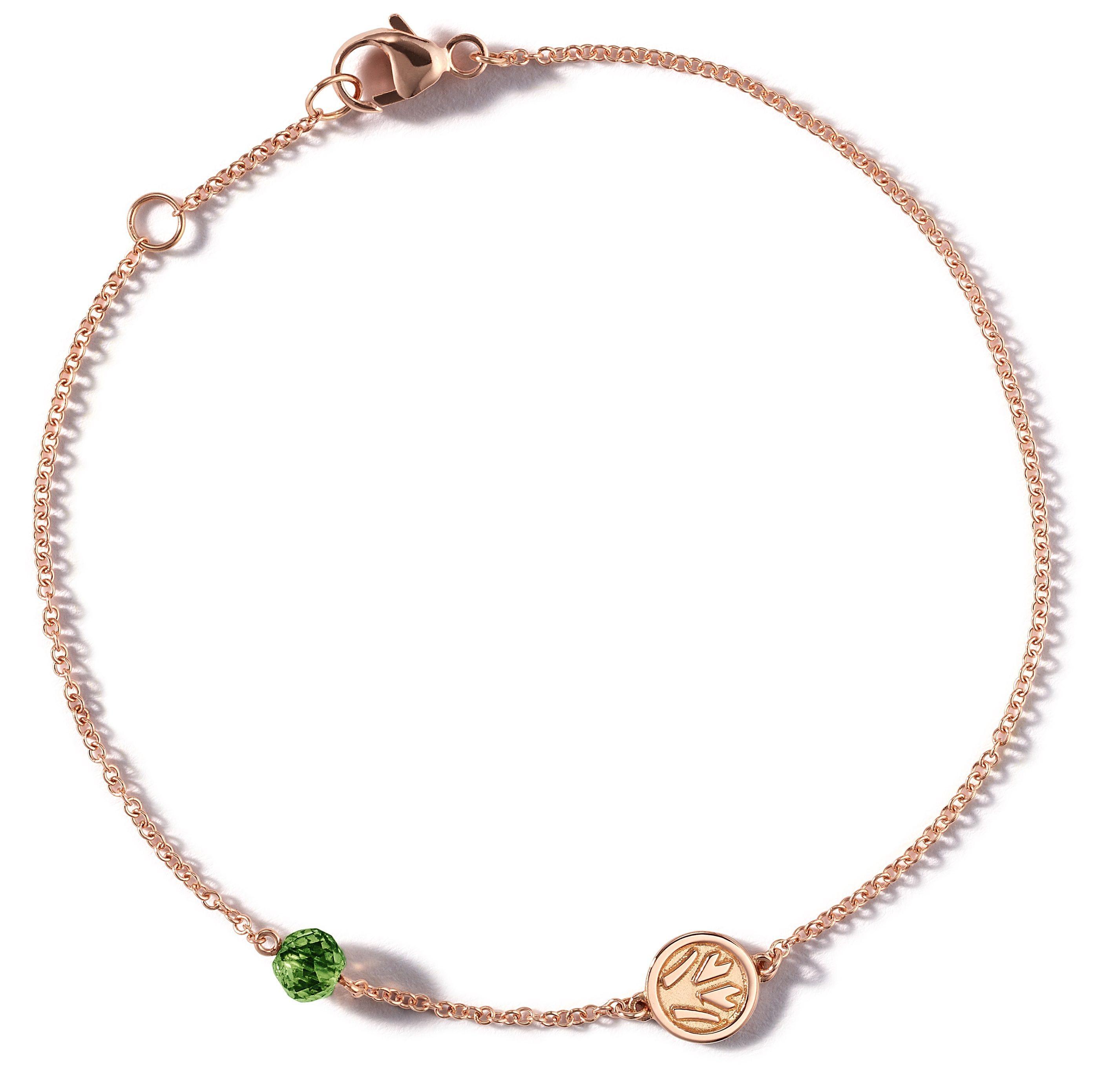 Nina Runsdorf Rose Gold Tree Of Life Bracelet with Green Bead