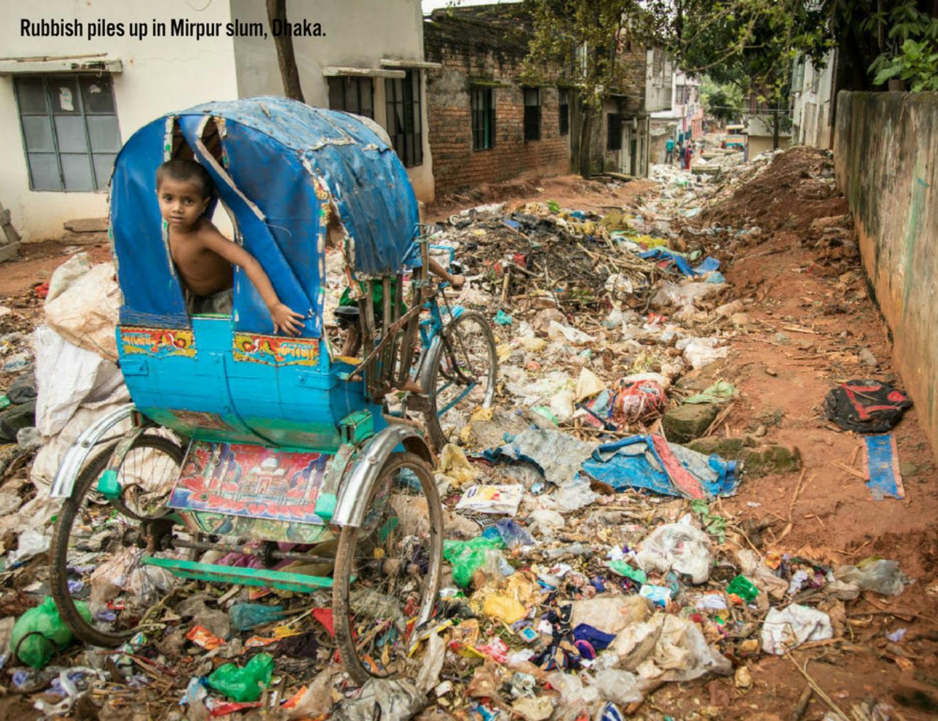 Waste Piles Up In Mirpur Slum Dhaka
