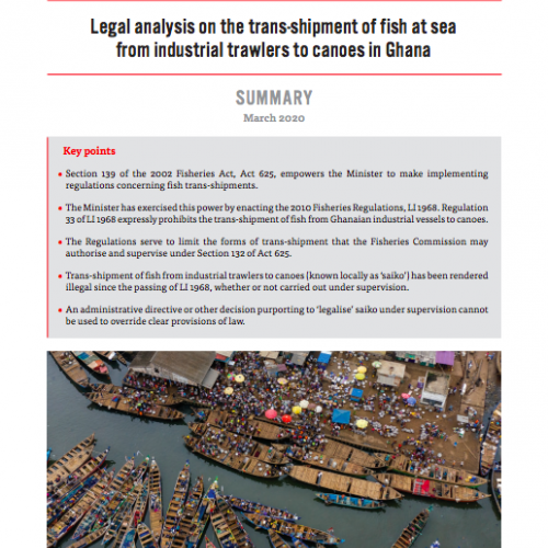 Legal analysis on the trans-shipment of fish at sea from industrial trawlers to canoes in Ghana