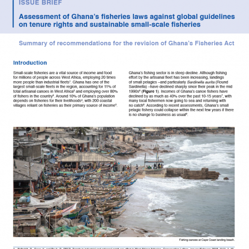 Assessment of Ghana's fisheries laws against global guidelines on tenure rights and sustainable small-scale fisheries