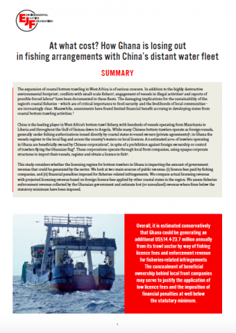 At what cost? How Ghana is losing out in fishing arrangements with China's distant water fleet: summary