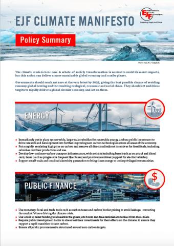 Climate Manifesto Policy Summary