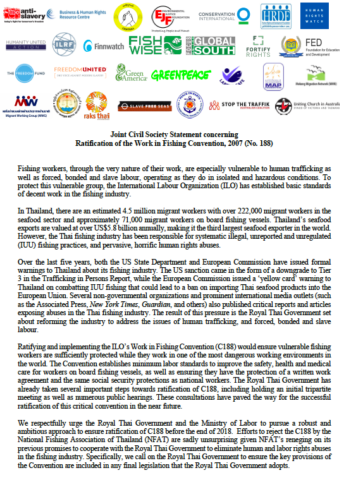 Joint Civil Society Statement concerning Ratification of the Work in Fishing Convention, 2007 (No. 188)