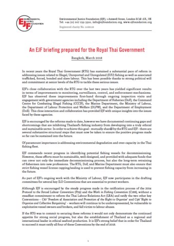 An EJF briefing prepared for the Royal Thai Government