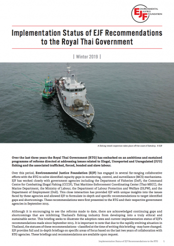 Implementation Status of EJF Recommendations to the Royal Thai Government