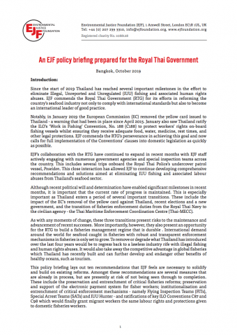 An EJF policy briefing prepared for the Royal Thai Government
