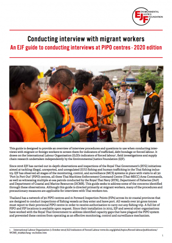 Conducting interviews with migrant workers