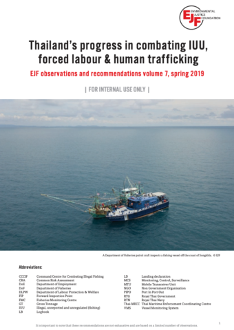 Thailand's progress in combating IUU, forced labour & human trafficking