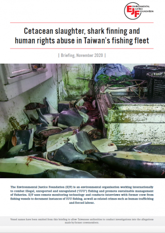 Cetacean slaughter, shark finning and human rights abuse in Taiwan's fishing fleet